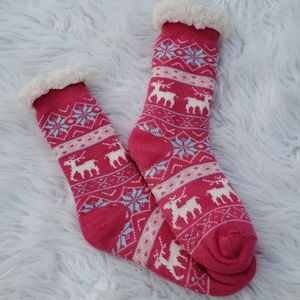 Shoes - Pink Slipper Socks that is Fleece Lined